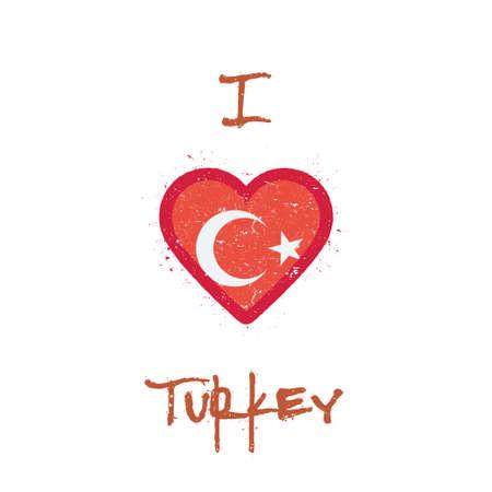 I love Turkey t-shirt design. Turkish flag in the shape of heart on white background. Grunge vector illustration. Illustration