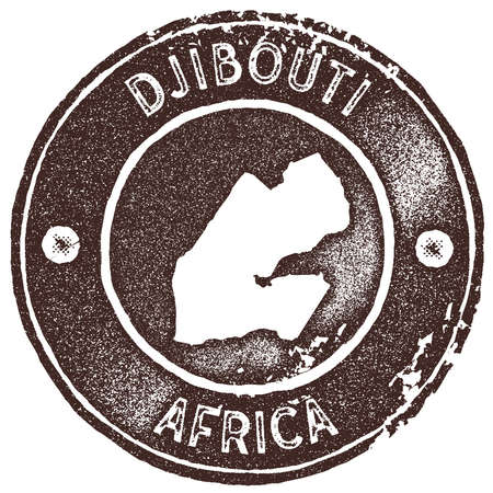 Djibouti map vintage stamp. Retro style handmade label, badge or element for travel souvenirs. Brown rubber stamp with country map silhouette. Vector illustration.