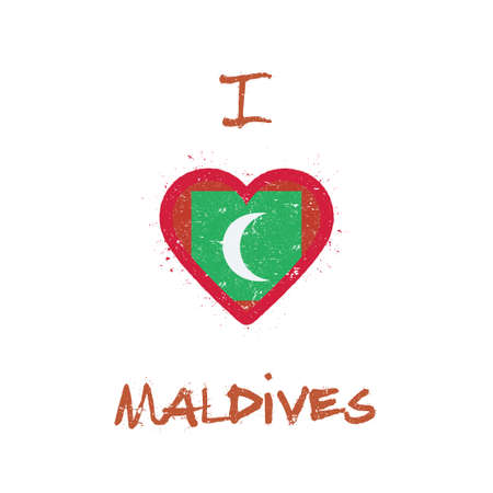 I love Maldives t-shirt design. Maldivan flag in the shape of a heart on white background. Grunge vector illustration.