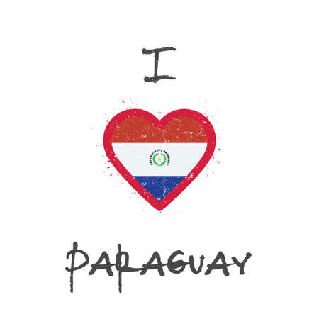 I love Paraguay t-shirt design. Paraguayan flag in the shape of heart on white background. Grunge vector illustration.