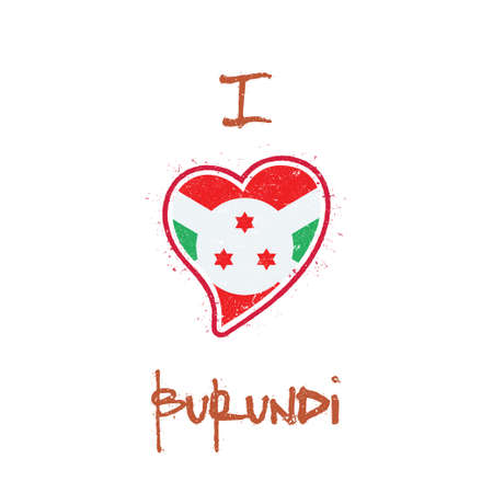 Burundian flag patriotic t-shirt design. Heart shaped national flag Republic of Burundi on white background. Vector illustration. Illustration