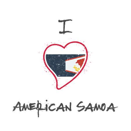 American Samoan flag patriotic t-shirt design. Heart shaped national flag American Samoa on white background. Vector illustration. Illustration