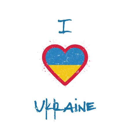 I love Ukraine t-shirt design. Ukrainian flag in the shape of heart on white background. Grunge vector illustration. Çizim