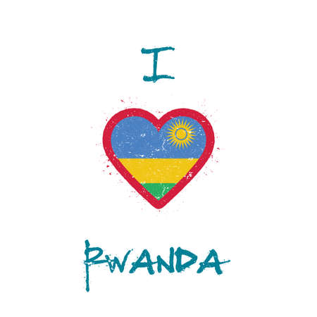 I love Rwanda t-shirt design. Rwandan flag in the shape of heart on white background. Grunge vector illustration.
