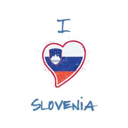 Slovene flag patriotic t-shirt design. Heart shaped national flag Slovenia on white background. Vector illustration. Illustration