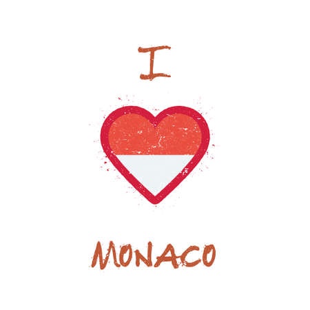 I love Monaco t-shirt design. Monegasque flag in the shape of heart on white background. Grunge vector illustration.