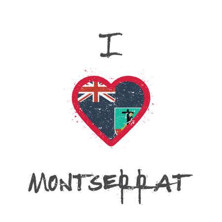 I love Montserrat t-shirt design. Montserratian flag in the shape of heart on white background. Grunge vector illustration.