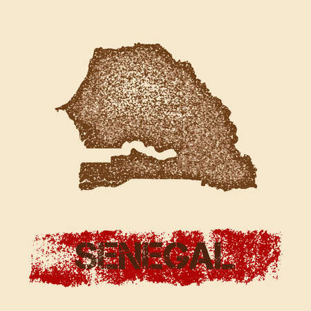 Senegal distressed map. Grunge patriotic poster with textured country ink stamp and roller paint mark, vector illustration.