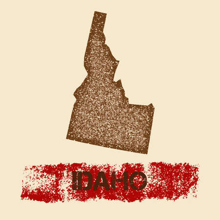 Idaho distressed map. Grunge patriotic poster with textured state ink stamp and roller paint mark, vector illustration.