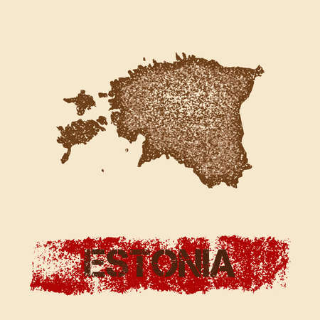 Estonia distressed map. Grunge patriotic poster with textured country ink stamp and roller paint mark, vector illustration. Illustration