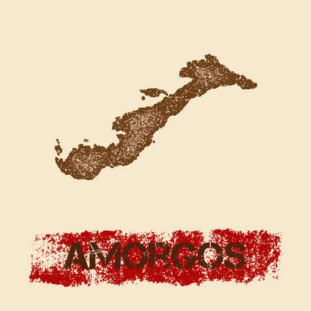 Amorgos distressed map. Grunge patriotic poster with textured island ink stamp and roller paint mark, vector illustration.