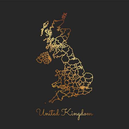 United Kingdom region map illustration. Çizim