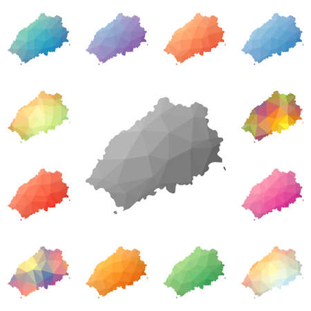 Saint Helena geometric polygonal, mosaic style island maps collection. Bright abstract tessellation, low poly style, modern design. Saint Helena polygonal maps for your infographics or presentation.