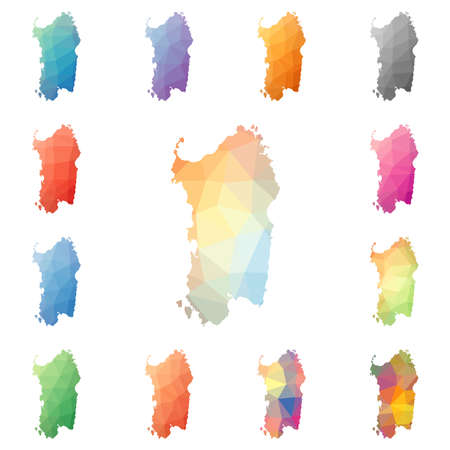 Sardinië geometrische veelhoekige, kaartencollectie eilandstijl in mozaïekstijl. Heldere abstracte mozaïekpatroon, laag poly stijl, modern design. Sardinië veelhoekige kaarten voor uw infographics of presentatie.