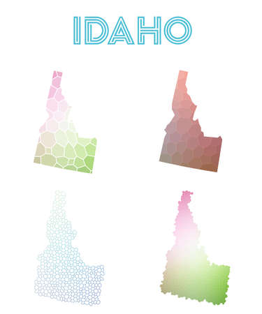 Idaho polygonal us state map. Mosaic style maps collection. Bright abstract tessellation, geometric, low poly, modern design. Idaho polygonal maps for infographics or presentation.