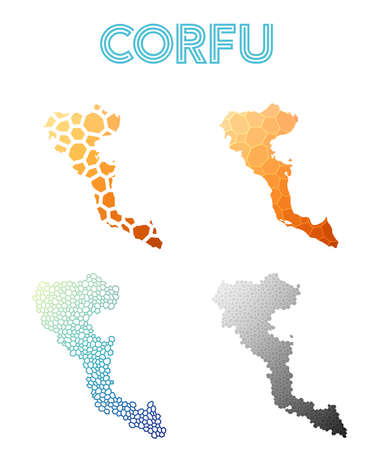 Corfu polygonal island map. Mosaic style maps collection. Bright abstract tessellation, geometric, low poly, modern design. Corfu polygonal maps for infographics or presentation. Illustration