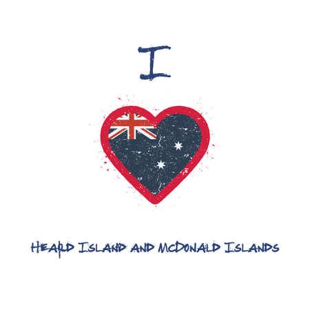 I love Heard and McDonald Islands t-shirt design. Heard and McDonald Islander flag in the shape of heart on white background. Grunge vector illustration.