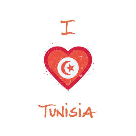 I love Tunisia t-shirt design. Tunisian flag in the shape of heart on white background. Grunge vector illustration. Çizim
