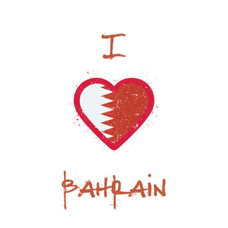 I love Bahrain t-shirt design. Bahraini flag in the shape of heart on white background. Grunge vector illustration.