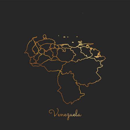 Mapa de la región de Venezuela: esquema de oro del gradiente en fondo oscuro. Mapa detallado de las regiones de Venezuela. Ilustración vectorial Vectores