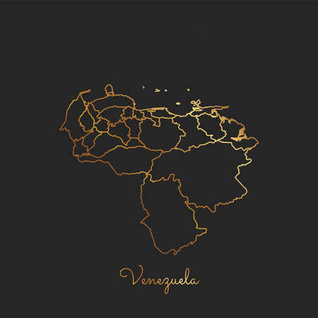 Venezuela region map: golden gradient outline on dark background. Detailed map of Venezuela regions. Vector illustration.