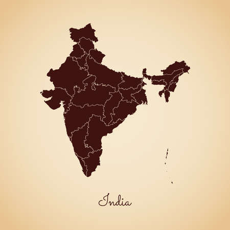 India region map: retro style brown outline on old paper background. Detailed map of India regions. Vector illustration.