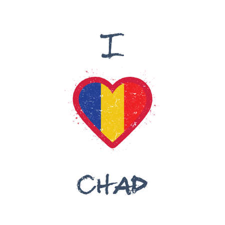 I love Chad t-shirt design. Chadian flag in the shape of heart on white background. Grunge vector illustration.