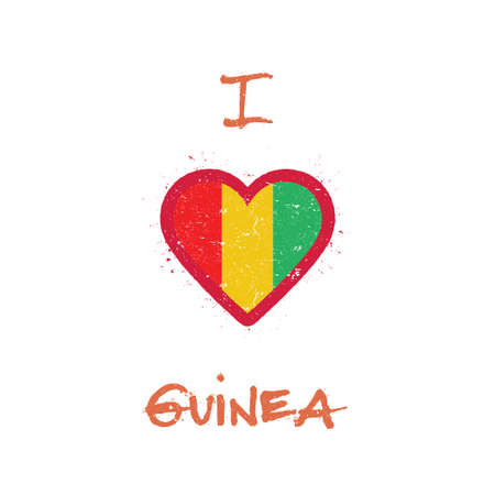 I love Guinea t-shirt design. Guinean flag in the shape of heart on white background. Grunge vector illustration.