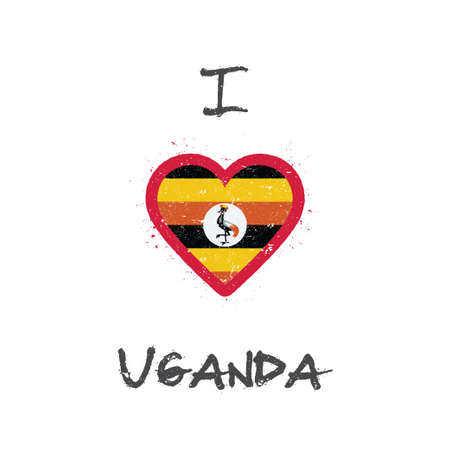 I love Uganda t-shirt design. Ugandan flag in the shape of heart on white background. Grunge vector illustration.