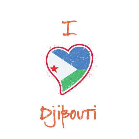 Djibouti flag patriotic t-shirt design. Heart shaped national flag Djibouti on white background. Vector illustration.