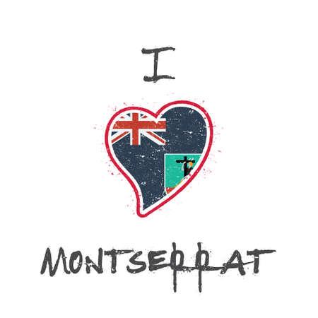 Montserratian flag patriotic t-shirt design. Heart shaped national flag Montserrat on white background. Vector illustration.