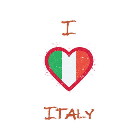I love Italy t-shirt design. Italian flag in the shape of heart on white background. Grunge vector illustration.