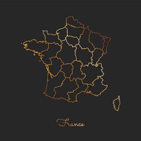 France region map: golden gradient outline on dark background. Detailed map of France regions. Vector illustration.