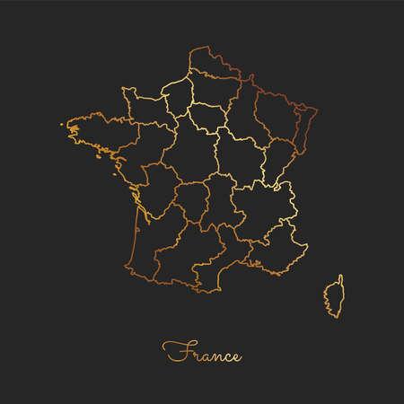 France region map: golden gradient outline on dark background. Detailed map of France regions. Vector illustration.