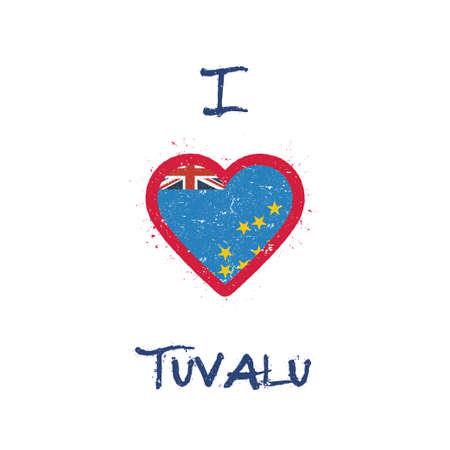 I love Tuvalu t-shirt design. Tuvaluan flag in the shape of heart on white background. Grunge vector illustration. Çizim