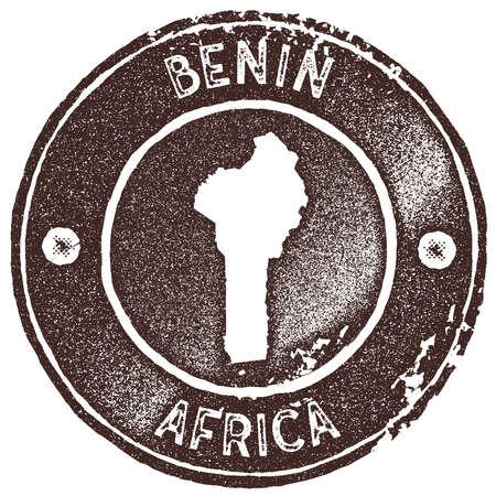 Benin map vintage stamp
