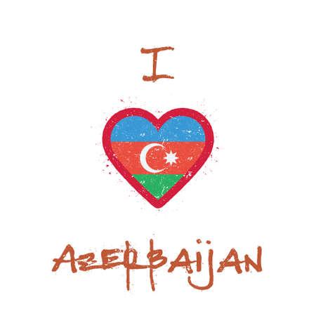 I love Azerbaijan t-shirt design. Azerbaijani flag in the shape of heart on white background. Grunge vector illustration.