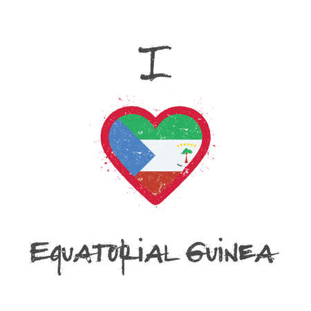 I love Equatorial Guinea t-shirt design. Equatorial Guinean flag in the shape of heart on white background. Grunge vector illustration. Çizim