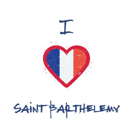 I love Saint Barthelemy t-shirt design. Saint Barthelemy Islander flag in the shape of heart on white background. Grunge vector illustration. Çizim