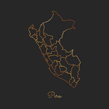 Peru region map: golden gradient outline on dark background. Detailed map of Peru regions. Vector illustration.