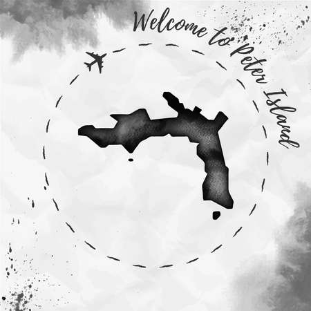 Peter Island watercolor island map in black colors. Welcome to Peter Island poster with airplane trace and handpainted watercolor Peter Island map on crumpled paper. Vector illustration.