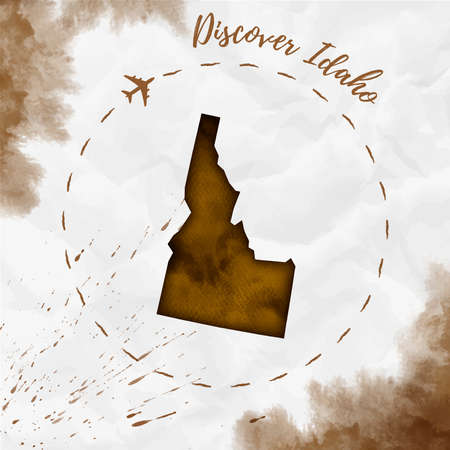Idaho watercolor us state map in sepia colors. Discover Idaho poster with airplane trace and handpainted watercolor Idaho map on crumpled paper. Vector illustration.