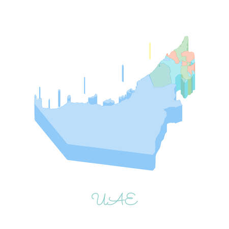 UAE region map: colorful isometric top view. Detailed map of UAE regions. Vector illustration. Illustration