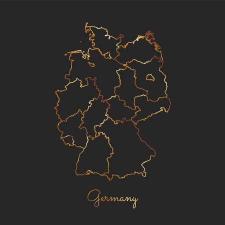 Germany region map: golden gradient outline on dark background. Detailed map of Germany regions. Vector illustration.