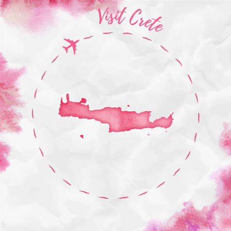 Crete watercolor island map in red colors. Visit Crete poster with airplane trace and handpainted watercolor Crete map on crumpled paper. Vector illustration.