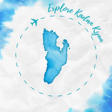 Explore Kadan Kyun poster with airplane trace and handpainted watercolor Kadan Kyun map on crumpled paper. Ilustração