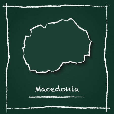 Mazedonien, die ehemalige jugoslawische Republik Umrissvektorkarte Hand gezeichnet mit Kreide auf einer grünen Tafel. Tafel-Gekritzel im kindlichen Stil. Weiße Kreidebeschaffenheit auf grünem Hintergrund.