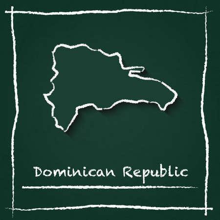 Dominikanische Republik Umriss Vektor-Karte Hand gezeichnet mit Kreide auf eine grüne Tafel . Tafel kritzeln in der kindischen Art. Weiße Kreide Textur auf grünem Hintergrund