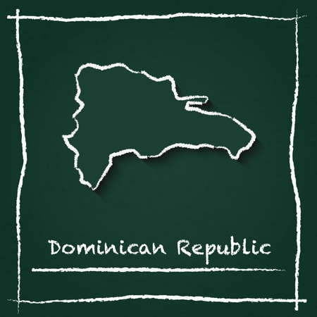 Dominican Republic outline vector map hand drawn with chalk on a green blackboard. Chalkboard scribble in childish style. White chalk texture on green background. Illustration