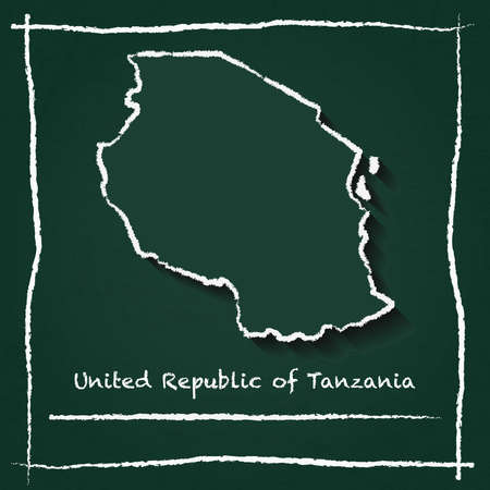 Tanzania, United Republic of outline vector map hand drawn with chalk on a green blackboard. Chalkboard scribble in childish style. White chalk texture on green background.